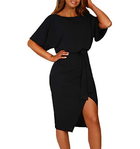 Ajpguot Damen Kleid Rundhals Kurzarm Sommerkleid Asymmetrisch Schlitz Strandkleid Einfarbig Knielang Kleider Freizeitkleid mit Gürtel Partykleid (Schwarz, S) (Sexy Schlitz Ballkleid)