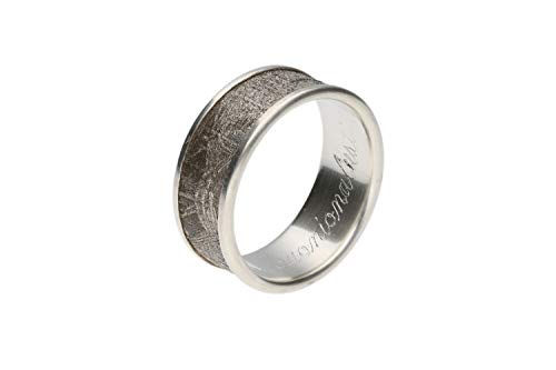 Meteorit (Eisenmeteorit) Ring, Größe 65, Silber 925 rhodiniert nickelfrei