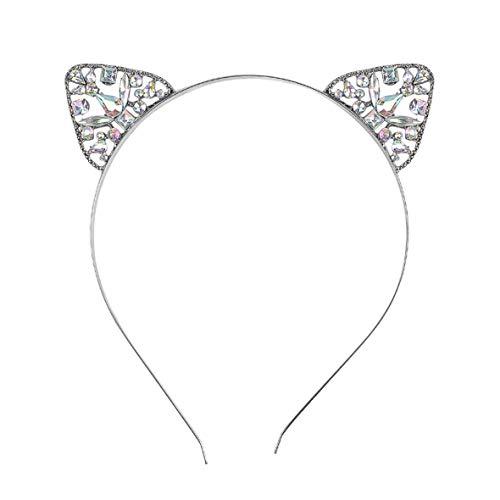Monllack Frauen Mädchen Haarband Glitter Kristall Strass Katze Ohr Stirnband Hairband Kostüm Party Haarband Zubehör (Katze Ohr Kostüme)