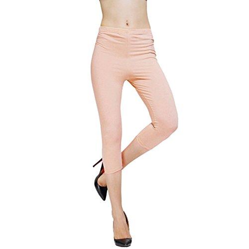 DIAMONDKIT cotton stretch capri legging de sport doublé pour femme Pêche