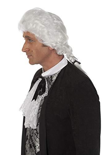 Preiswerte Renaissance Kostüm - Jannes Perücke Rokoko Marquis mit Zopf Weiß für Herren Barock Renaissance Herrenperücke