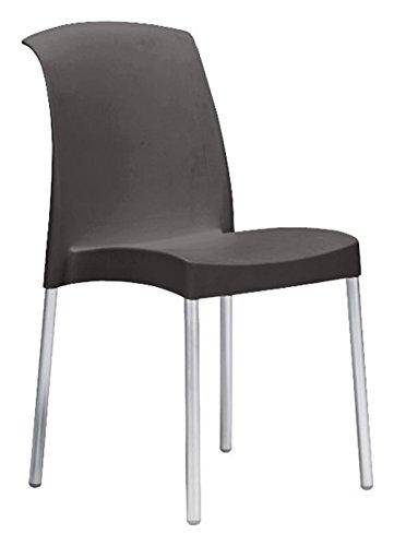 Sedia jenny antracite scocca polipropilene gambe alluminio - Lotto 6 sedie - Scab Design