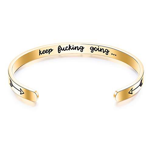 Inspirierende Geschenke für Frauen Keep Funking Going Cuff Armreif Armreifen für Frauen Geschenke unter 20 Dollar für Frauen,Gold