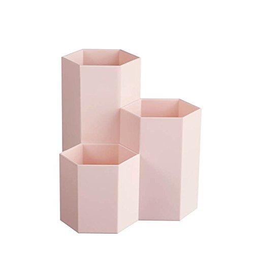 mxjeeio Mehrzweckplastikstift-Verschiedenartigkeitbehälter-kreative Hexagonfrische Artstifthaltervase-Tischplattendekoration -