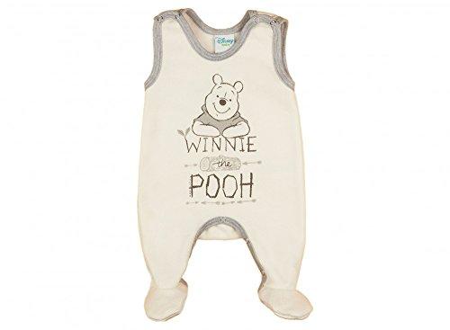 Jungen/Mädchen Baby-Strampler Winnie The Pooh ÄRMELLOS mit Füßchen, GEFÜTTERT, Spiel-Anzug mit Druckknöpfen, Baby-Schlafanzug, Grösse 56, 62, 68, in beige, grau, blau, rosa Farbe Grau, Größe 62 -