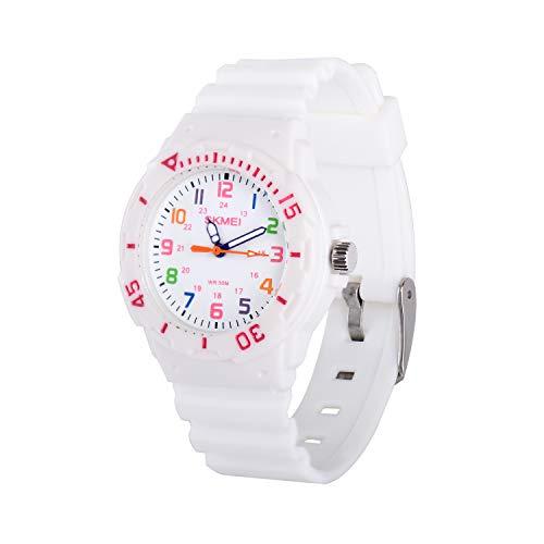 Neihou Kinder Analog Armbanduhr Durable Kleine Mädchen Uhren Wasserdicht 33mm Runden Zifferblatt 15mm PU Uhrenarmband Weiß WG06703