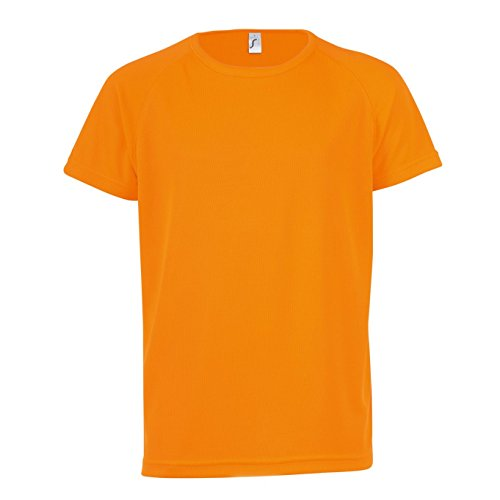 SOLS Kinder Unisex T-Shirt Sporty, Kurzarm (10 Jahre (130/140)) (Neon Orange)