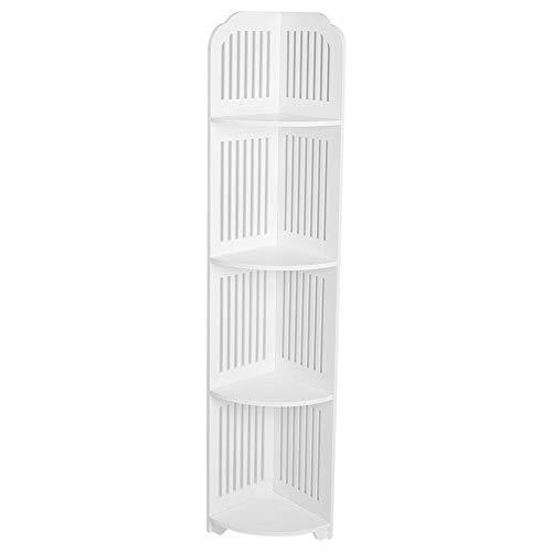 Cocoarm 4 Ebenen Eckregal, Bücherregal Standregal Ordner Regal aus Holz Dekoregal für Wohnzimmer Schlafzimmer Küche Weiß 120×30×21.5cm -