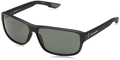 Columbia Men's Ridgestone P Polarized Rectangular Sunglasses, Matte Black, 62 mm