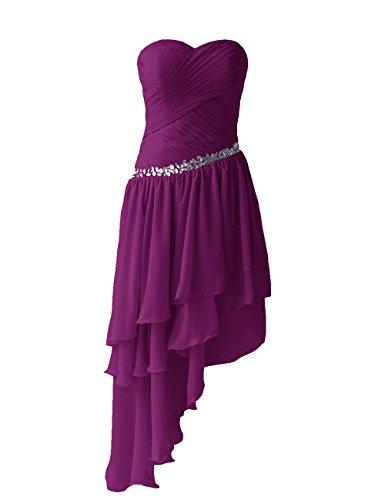 Dressystar Damen Kurzes Chiffon Cocktailkleid Trägerlos Herzförmig Ausschnitt Ballkleider Abendkleider Grape