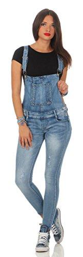5067 Fashion4Young Damen Jeans Latzhose Röhrenjeans Latzjeans Slimline Damenlatzhose (XS=34, blau)