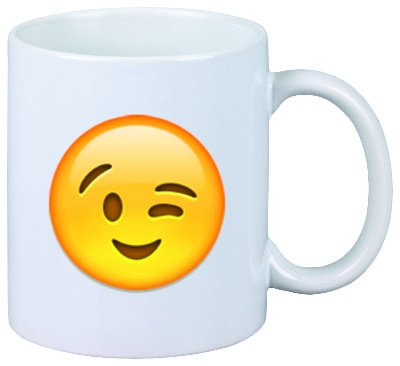 """Tasse """"Zwinkerndes Gesicht"""" aus Keramik - Größe: Ø8,5 H9,5 cm - Kaffeetasse - Teetasse - Weihnachtsgeschenkidee"""