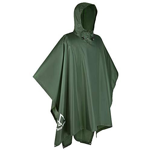 Terra Hiker Multi-Functional Rain Poncho, Sunshade Tarp, Ground Mat for Outdoor Activities (Army Green)