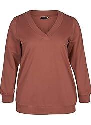 Zizzi Damen Große Größen Sweatshirt mit V-Ausschnitt und Rippbündchen Gr 42-56