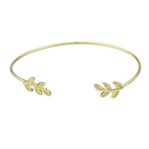 Feelontop® Mode Gold Silber schwarz-beschichtet Einfache Cuff Bracelets (Gold)