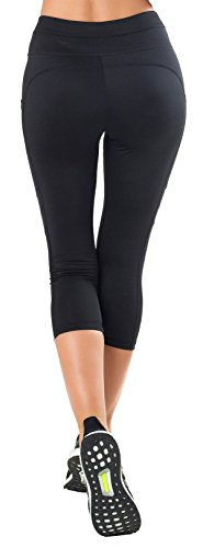 Sudawave Maglie da donna Capri Yoga di allenamento Pantaloni correnti Gilet attivi con tasche laterali Nero