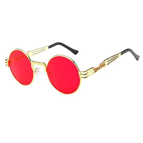 Steampunk estilo retro inspirado círculo metálico redondo gafas de sol polarizadas para hombres para Carreras, Viaje, Conducción, Golf, y Actividades Exteriores para Unisex - URIBAKY