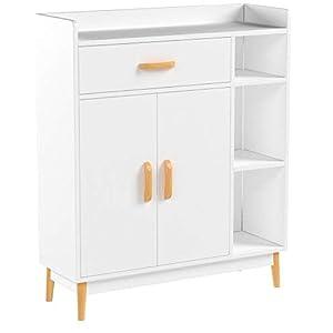 Homfa Kommode Sideboard Schrank Schubladenkommode Highboard Anrichte mit 1 Schubladen 2 Türen 3 Fächern weiß 80×29.5x93cm
