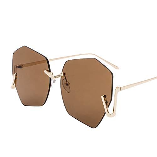 Sonnenbrille Damen Retro,WQIANGHZI Chic Sunglasses Matte Katzenauge Nerdbrille,Einfach Rahmenlos...