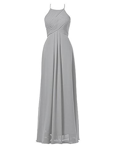 BetterGirl Chiffon Lang Neckholder Abendkleid Empire Brautjungfernkleider Festlich Ballkleid-Silber-36