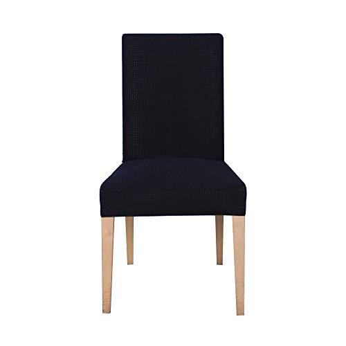 Ebeta 6 pezzi coprisedie con schienale, Elasticizzato Copertura della sedia, copertura fodera, banchetto sedia sedile Slipcover per Hone party hotel cerimonia di nozze Posate da(Nero)