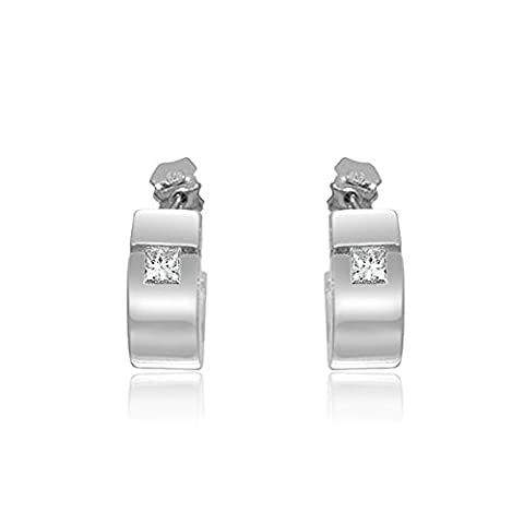 0.14ct G/SI1 Diamond Hoop Earrings for Women with Princess Cut Diamonds in 18ct White Gold