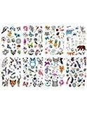 Oottati 8 Blätter Temporäre Tätowierung Arm Bein Netter Katzen Eulen Feder Schmetterlings Fox Bär Zoo Finger