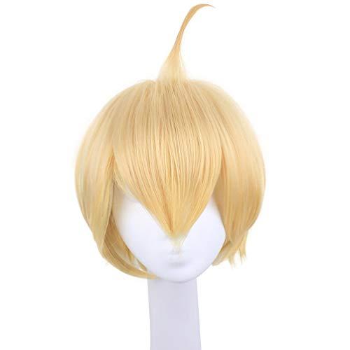 me Perücke Goldene Glocken Kurze Bob Stil Glattes Haar Perücke Keine Spitze COS Perücken für Träume Mode Synthetische Haarteil für Frauen Männer Kostüm Halloween ()