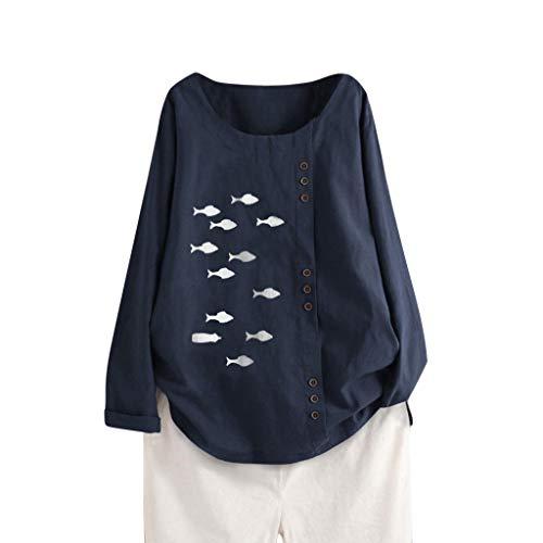 CEFGR 2019 Damen Langarm Baumwoll Leinen Kaftan Damen Baggy Fish Print Shirt Tops M 5XL Herbst Sweatshirt Mit Kapuze Tops Weiche Tunika -