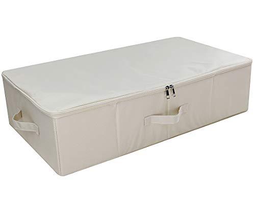 Unter dem Bett Aufbewahrungsbox mit Deckel mit Reißverschluss, abnehmbare Pappe, Tröster Aufbewahrungsbox, Staubdicht Korb für Bettdecken, Beige -