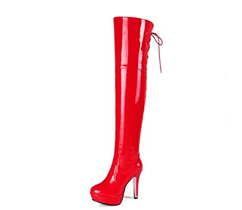 Damen Overknee Oberschenkel Stiefel Langer Stiefel Neue Mode Lackleder Seitlicher Reißverschluss High Heel Schwarz Rot Herbst Winter Party Nachtclub , Red , EUR 37/ UK (Stiefel Heel Bottom High Red)