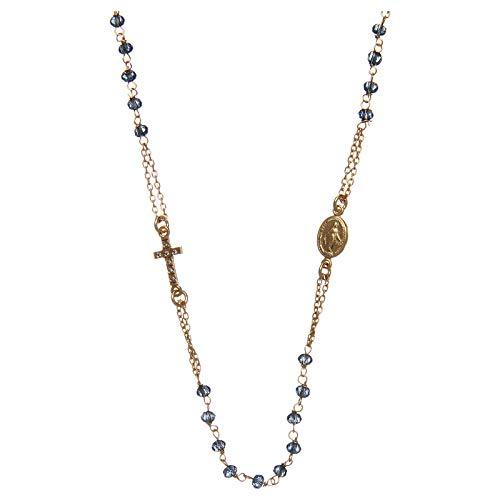Holyart Rosenkranz Kette Amen Blaue Perlen rosa Silber 925 - Blau Rosa Rosenkranz Und
