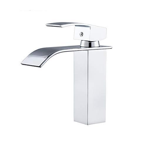 Wasserfall-Badezimmer-Wasserhahn, ein Griff mit einem Loch Bad Waschbecken Waschbecken Wasserhahn, Chrom-Soil-Messing-Beckenbecken Mixer Hahn mit Keramik-Ventil-Wasser-Versorgungsschläuche,short (Moen Bad Wasserhahn Griff)