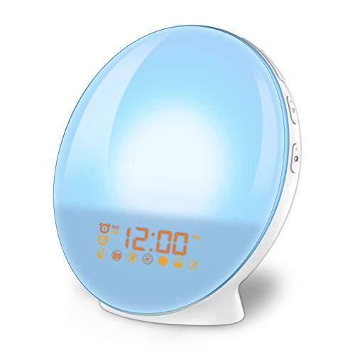 imoebel LED Wake-up Light, Lichtwecker, Digitaler Wecker, Sonnenaufgangssimulation, 7 natürliche Töne, FM Radio, Schlummerfunktion, Tageslichtwecker. Licht Digital Led