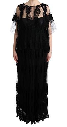 Black Floral Lace Ricamo Gown Shift Dress - Dolce & Shift Gabbana