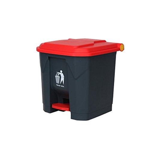 Garbage tribe XZG Outdoor Mülleimer, Hotel Große Haushalt Mülleimer Küche Überdachte Büro Kreative Schritte Kommerziellen Outdoor Mülleimer 30L Zuhause (Farbe : Rot) (Mülleimer Küche Schritt Groß)
