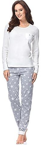 Italian Fashion IF Damen Schlafanzug Comet 0223 (Ecru/Melange, L)