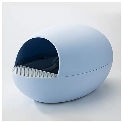 Toilette per gatti Scatola Automatica lettiera, Anti-Spruzzi, Intelligente WC Gatto, lettiera Pulizia elettrica, Gatto Uovo Pala Gatto Articoli da Toilette (Color : Blue)