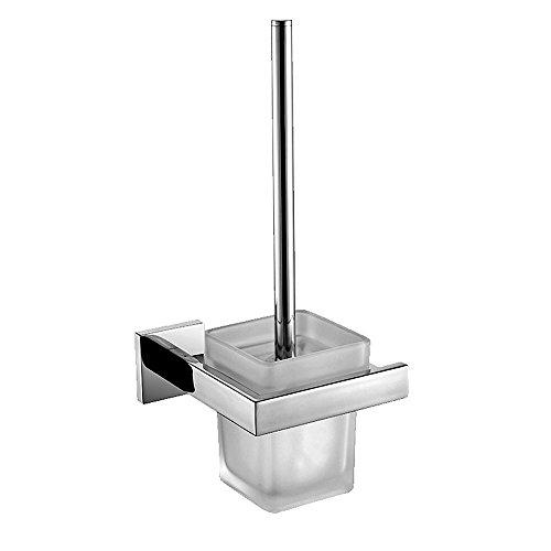 CASEWIND Toilettenbürstenhalter mit Bürten und Becher aus 304 Edelstahl und Mattglas, Silber Modern Toiletten Accessoires Serie, Wandmontag zum Bohren