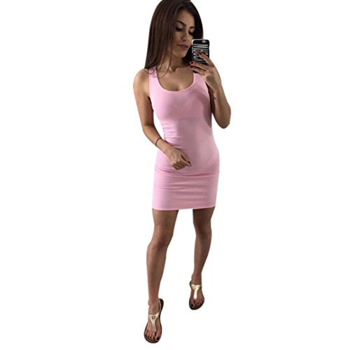 Bluestercool Femmes Robe Été Sexy Bandage Bodycon Backless Party Cocktail Mini-robe Rose