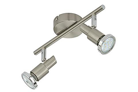 Briloner Leuchten 2991-022B, Deckenleuchte, Deckenlampe mit 2 dreh-und schwenkbaren Spots, inklusive Leuchtmittel mit Chromringen, Fassung: GU10, 2x3 Watt, Metall, 27.5 x 11.8 cm (BxH), matt-nickel