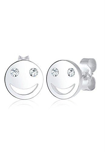 Elli Ohrringe Smiley Face Emoji Swarovski® Kristalle 925 Silber