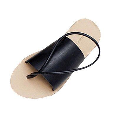 LvYuan Damen-Sandalen-Lässig-PU-Niedriger Absatz-Komfort-Schwarz Weiß Black