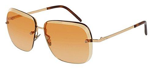 Pomellato pm0028s 003, occhiali da sole donna, oro (003-gold/orange), 57
