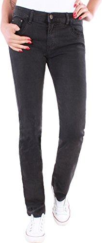 Black Denim Damen Stretch Jeans Hose Straight Leg Damenjeans Damenhose Übergröße ★7h (42/XL, Schwarz 01) (Skinny Denim Jeans Black)