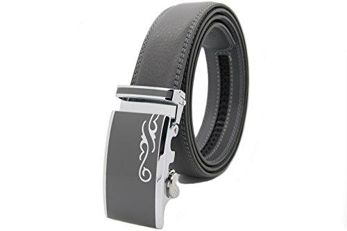 NISAR Echt Leder Gürtel mit Automatikschnalle Herren Damen Hochwertig Unisex Gürtel 3,5cm Breit (105cm, Grau) -
