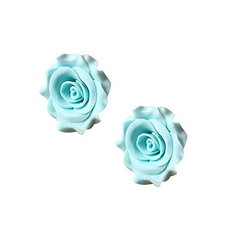 2Pcs Made By Sucre Bricolage Décoration De Gâteau/Turntable Spatule, Blue Rose