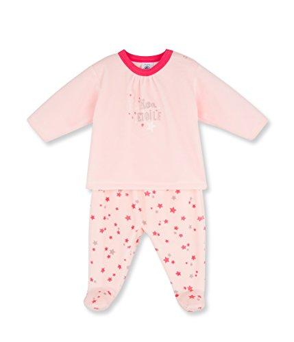Petit Bateau Baby - Mädchen Zweiteiliger Schlafanzug PYJAMA A PIEDS, mit Print, Gr. 80 (Herstellergröße: 12m/74cm), Rosa (VENUS/MULTICO 88)