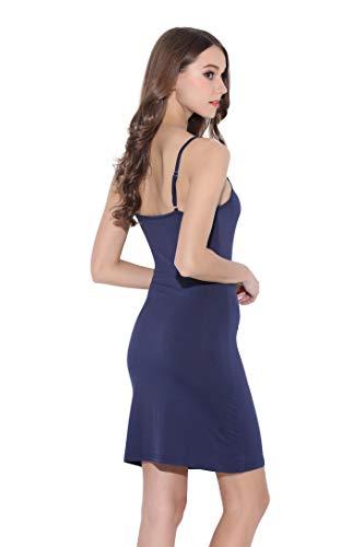 Coreal Damen Unterkleid Slim Nachthemd Verstellbare Träger nachtwäsche Marineblau Large -