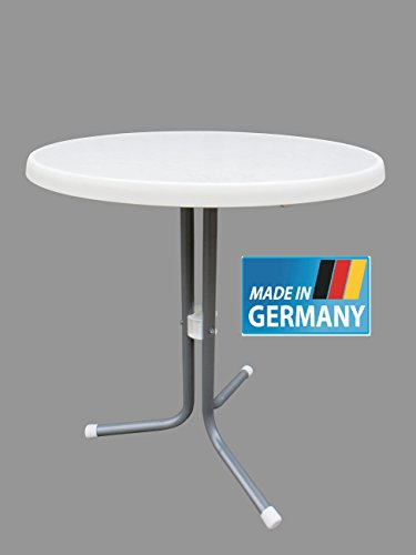 MFG Bistrotisch 60 cm Durchmesser, rund, MADE IN GERMANY, Gestell graphit (silber) farben, Sevelit Platte in bianco (weiß marmoriert), TÜV geprüft, #16